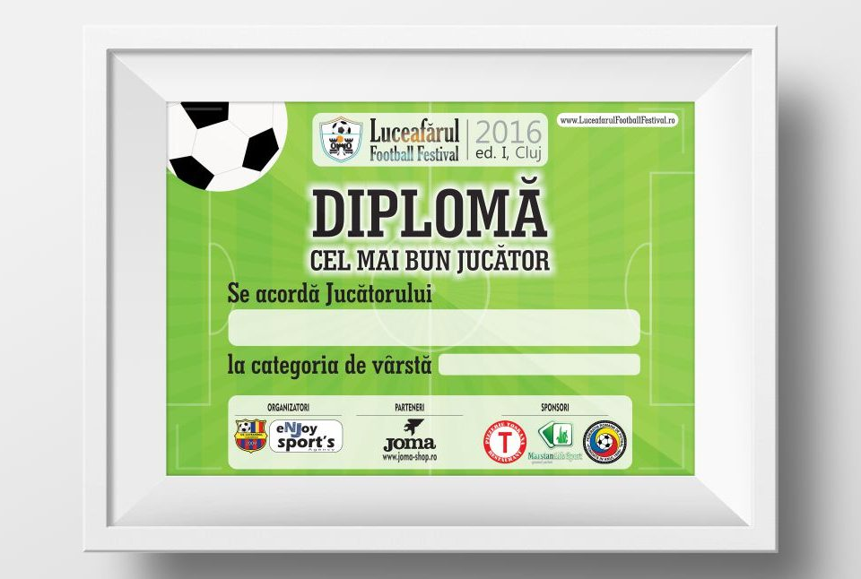 Grafica Diploma Luceafarul Football Festival Cluj